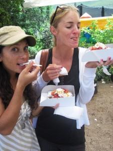 Enjoying waffles at the fair