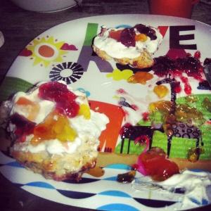 Flower scones with jam and cream