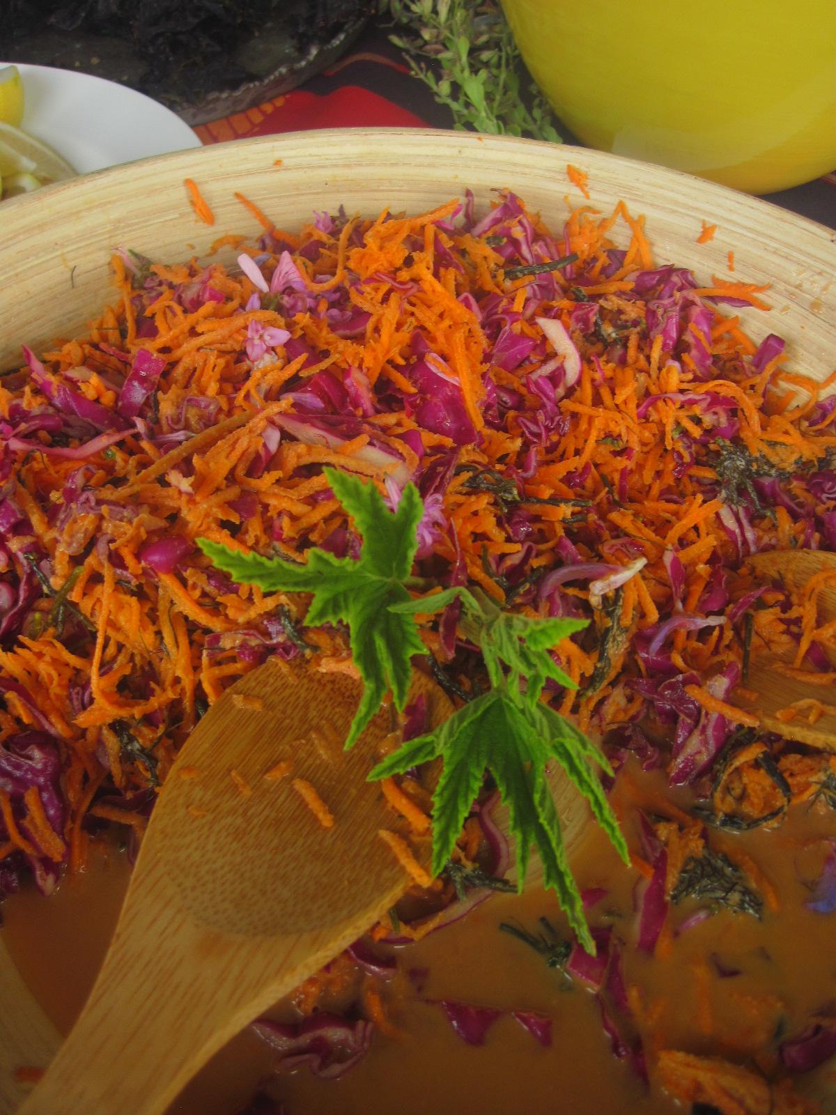 ... and Chordariopsus seaweed coleslaw salad with edible wild flowers