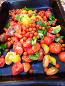 Tomatoes and peppers for roasting