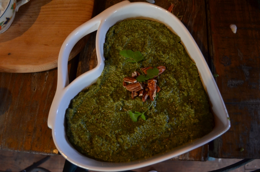 Wild greens pesto at Good Hope Gardens Nursery foraging course