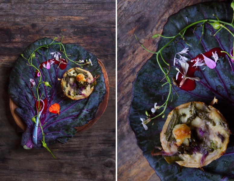 Wild greens and sheeps milk tartlet with a wild berry couli