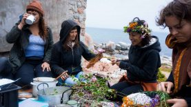 Autumn beach picnic and flower crowns